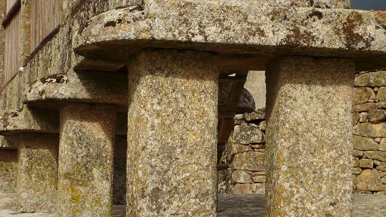 A salvaguarda do grão dos ataques dos roedores é assegurada nos espigueiros pelo seu assentamento em pilares, defendidos por escudos e sapatas na sua parte superior