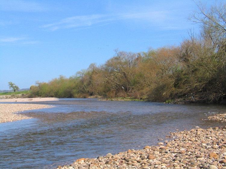 Margem de cascalho grosso no Rio Tejo, perto de Montalvão.