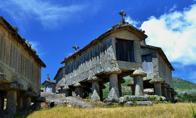 Principalmente no Alto-Portugal é muito comum existirem conjuntos de espigueiros na periferia das aldeias (fotografia de Miguel Pimenta)
